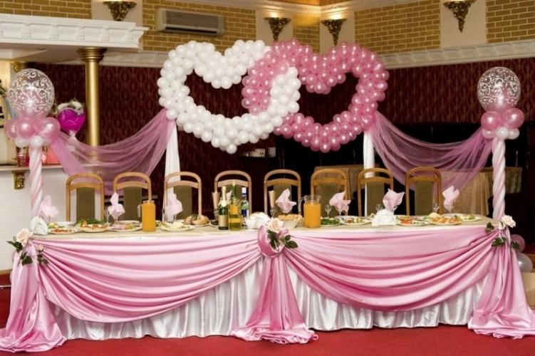 Розовое и белое сердца на свадьбу