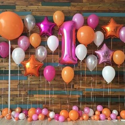 Разноцветные шары и цифра