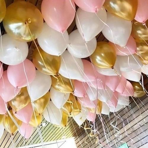 Розовые, золотые и белые шары