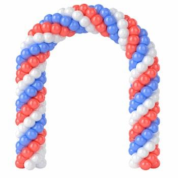 Трехцветная арка из воздушных шариков