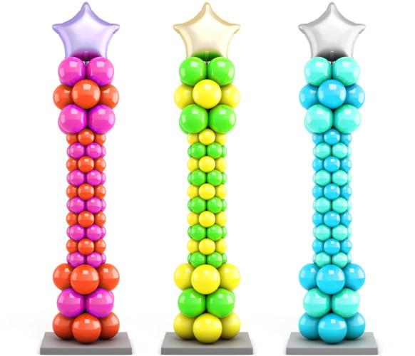 Яркие колонны из воздушных шаров
